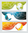 Collection banner design with glass balls and globe