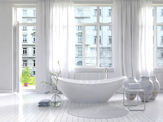 Sunny white bathroom interior with separate bathtub