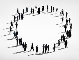 Silhouette of a Business Connection Circle