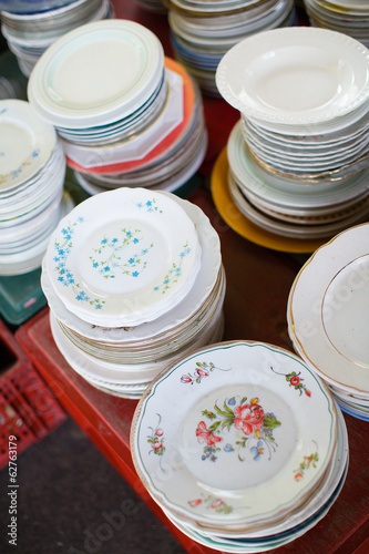 Antique plates on flea market