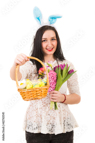 Happy woman gives Easter basket