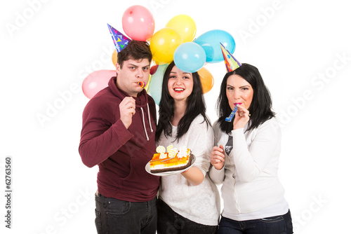 Cheerful friends celebrate birthday
