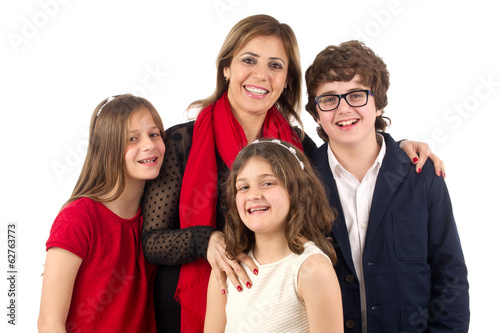 Group shot of a family isolated on white..