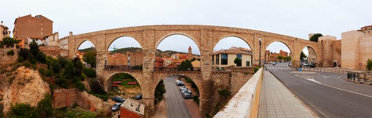 Panorama of Los Arcos aqueduct. Teruel