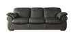 Black leather sofa (couch) isolated on white - 62764193