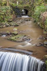 stone bridge and weir in yorkshire woodland