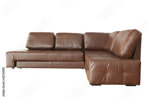 Brown leather sofa (couch) isolated on white