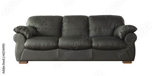 Black leather sofa (couch) isolated on white