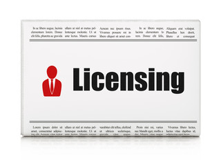 Law concept: newspaper with Licensing and Business Man