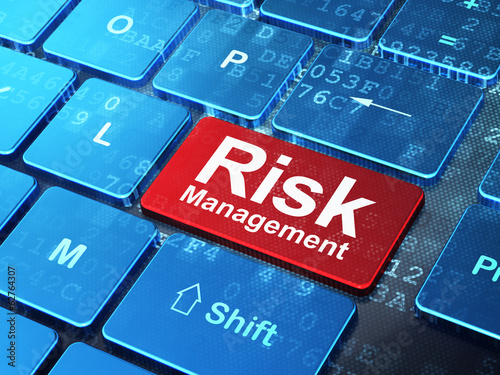 Finance concept: Risk Management on computer keyboard background