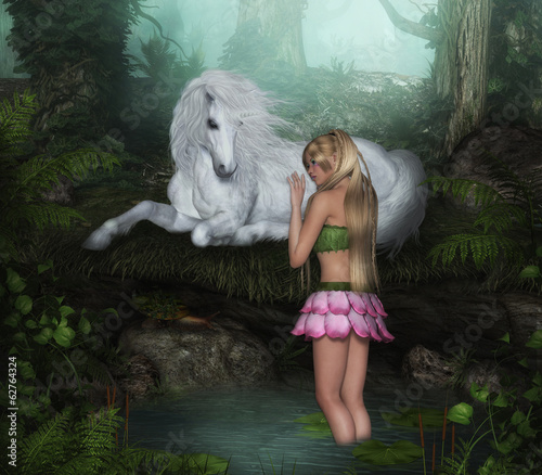 Flower Fairy with White Unicorn