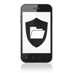 Business concept: Folder With Shield on smartphone