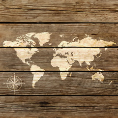world map on a wooden board vector