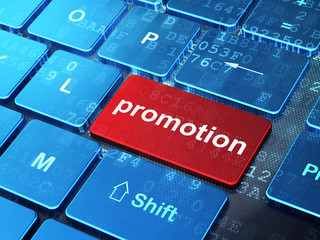 Advertising concept: Promotion on computer keyboard background