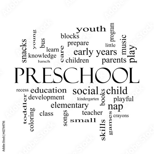 Preschool Word Cloud Concept in black and white