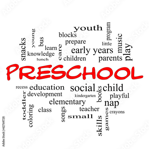 Preschool Word Cloud Concept in red caps