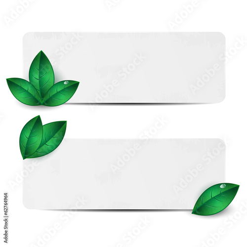 Set of two sheets of paper decorated with green leaves
