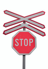 Traffic sign for stop and train railroad crossing