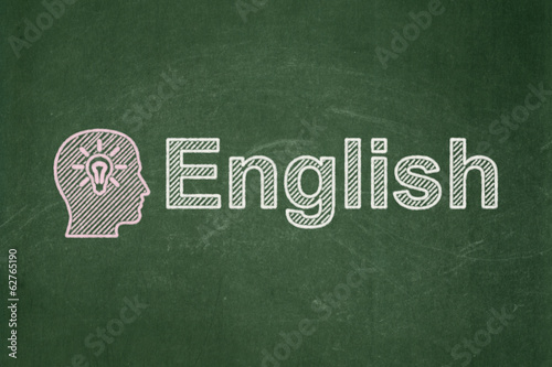 Education concept: Head With Light Bulb and English on