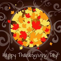 Happy Thanksgiving Day card. Vector Illustration.