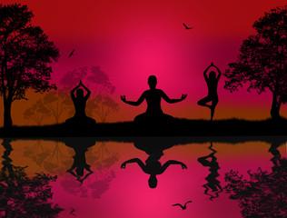 Yoga meditation silhouettes