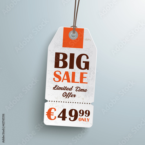 White Price Sticker Silver Background
