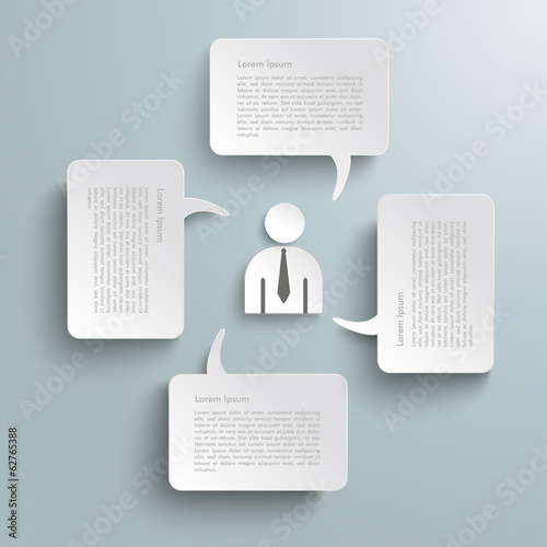 4 Rectangle Speech Bubbles Businessman