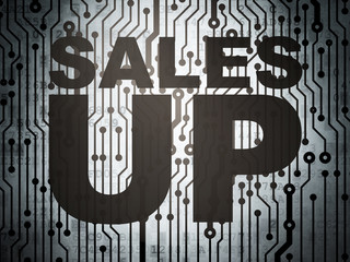 Marketing concept: circuit board with Sales Up