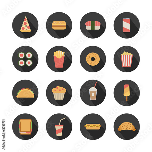 flat fast food icons on round dark background