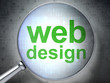 SEO web design concept: Web Design with optical glass