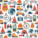 seamless pattern with adventure travel icons