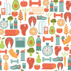 seamless background with healthy life icons