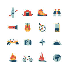 set of vector adventure traveling icons
