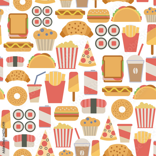 seamless background with fast food icons