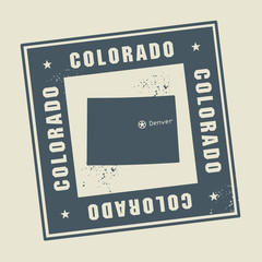 Grunge rubber stamp with name and map of Colorado, USA