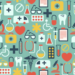 seamless pattern with medical icons, on blue background
