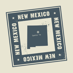 Grunge rubber stamp with name and map of New Mexico, USA