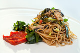 Healthy spaghetti with mushrooms and seaweed.