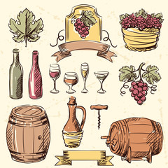 Wine vintage hand drawn set.