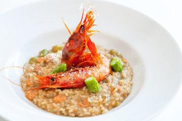 Seafood risotto with king prawns.