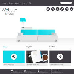 Modern Flat Minimalistic Website Template Vector Eps10
