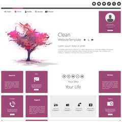Purple Modern Flat Website Template