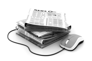 Stack of newspapers with mouse