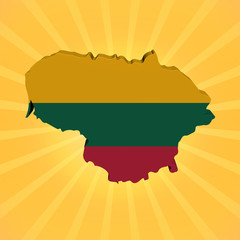 Lithuania map flag on sunburst illustration