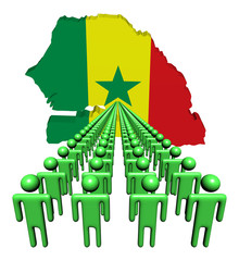 Lines of people with Senegal map flag illustration