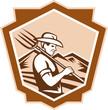 Organic Farmer Farm Pitchfork Shield