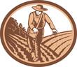 Organic Farmer Sowing Seed Woodcut Retro