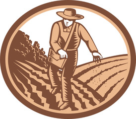 Organic Farmer Sowing Seed Woodcut Retro