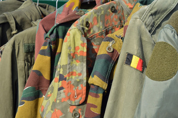 Dump of Military wear on a flea market