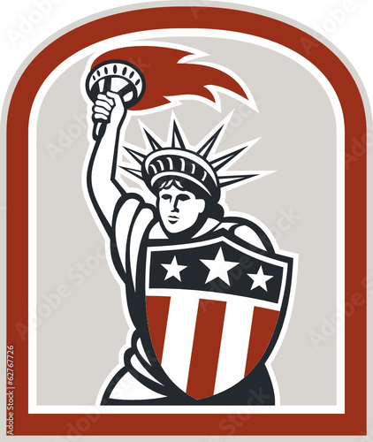 Statue of Liberty Holding Flaming Torch Shield Retro